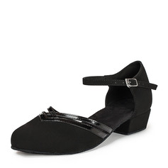 Women's Patent Leather Nubuck Flats Ballroom With Ankle Strap Dance Shoes