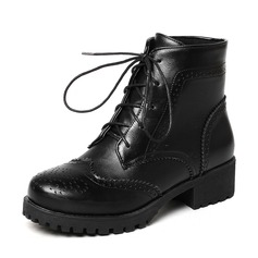 Women's PU Low Heel Boots Mid-Calf Boots Martin Boots With Lace-up shoes