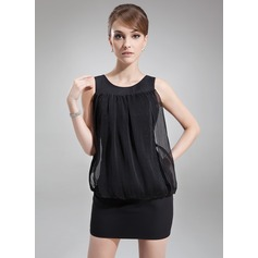 Sheath/Column Scoop Neck Short/Mini Chiffon Cocktail Dress With Ruffle