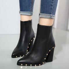 Frauen PU Stämmiger Absatz Absatzschuhe Stiefel mit Niete Reißverschluss Schuhe