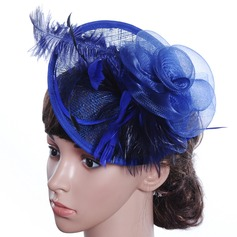 Ladies' Beautiful/Gorgeous/Special/Glamourous/Classic Cambric With Feather Floppy Hat (196139388)