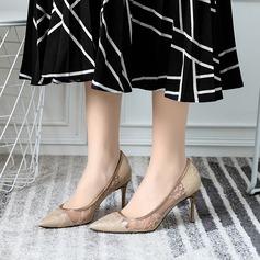 Kvinnor Spets Stilettklack Pumps Stängt Toe skor