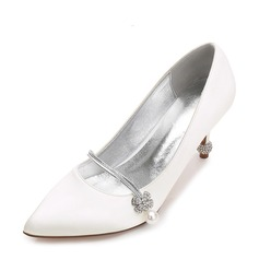Women's Silk Like Satin Stiletto Heel Closed Toe Pumps With Buckle Imitation Pearl