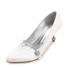 Женщины шелка как атласное Высокий тонкий каблук Закрытый мыс На каблуках с пряжка Имитация Перл