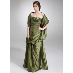 A-Linie/Princess-Linie Trägerlos Bodenlang Taft Abendkleid mit Rüschen Perlen verziert Pailletten