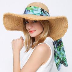 Senhoras Simples/Fantasia Ráfia Chapéu de palha/Chapéus praia / sol