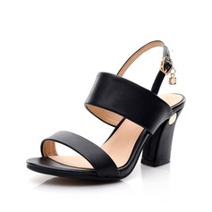 Real Leather Chunky Heel Sandals Slingbacks With Buckle shoes