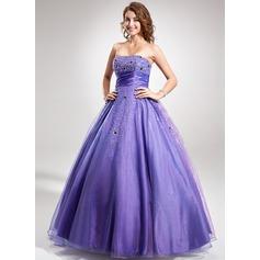 Duchesse-Linie Trägerlos Bodenlang Taft Quinceañera Kleid (Kleid für die Geburtstagsfeier) mit Rüschen Perlstickerei Pailletten