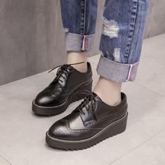 Frauen PU Keil Absatz Plateauschuh Keile mit Zuschnüren Schuhe