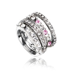 Elegant Alloy/Platinum Plated With Rhinestone Ladies' Rings