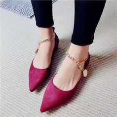 Women's Suede Flat Heel Flats Platform With Chain shoes