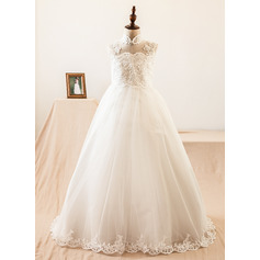Ball-Gown/Princess Sweep Train Flower Girl Dress - Satin/Tulle Sleeveless High Neck With Beading/Appliques