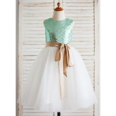 Corte A/Princesa Hasta la tibia Vestidos de Niña Florista - Tul/Con lentejuelas Sin mangas Escote redondo con Fajas (Faja desmontable)
