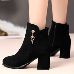 Suede PU Chunky Heel Flats Wedges Slippers With Zipper shoes