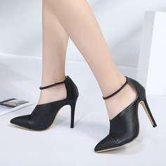 Frauen PU Stöckel Absatz Absatzschuhe mit Gummiband Schuhe