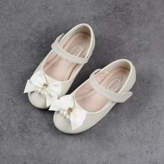 Muchacha Punta Cerrada Ballet plano Cuero de Microfibra Talón plano Planos Zapatos de niña de las flores con Bowknot Perlas de imitación Rhinestone Velcro