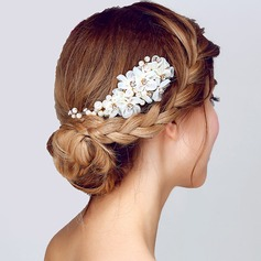 Charmosa Pérolas de imitação/Flor de seda Flores & penas