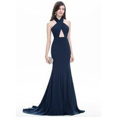 Trumpet/Mermaid Halter Sweep Train Jersey Prom Dresses