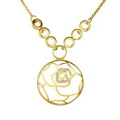 Blume Geformt Tschechische Stones/Zinn-Legierung Damen Halsketten