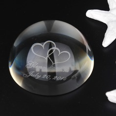 Personalized Double Hearts Crystal Keepsake