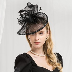 Senhoras Moda/Charmosa/Elegante Cambraia com Pena Fascinators/Kentucky Derby Bonés/Chapéus do tea party (196187237)