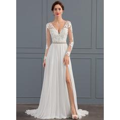 A-linjeformat V-ringning Sweep släp Chiffong Bröllopsklänning med Beading Paljetter Slits Fram