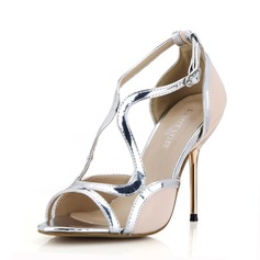 Kvinnor Konstläder Stilettklack Sandaler Peep Toe skor