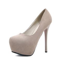 Frauen Veloursleder Stöckel Absatz Absatzschuhe Plateauschuh Geschlossene Zehe Schuhe