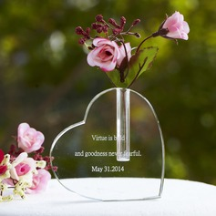 Personalized Heart Shaped Glass Cake Topper