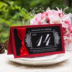 Pearl Paper Table Number Cards With Ribbons (Set of 10)