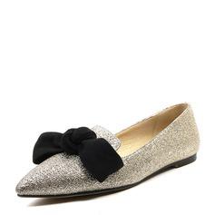 Frauen Funkelnde Glitzer Flascher Absatz Flache Schuhe Geschlossene Zehe mit Bowknot Schuhe