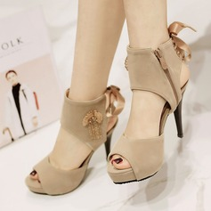 Women's Suede Stiletto Heel Sandals Pumps Platform Peep Toe Slingbacks With Lace-up shoes