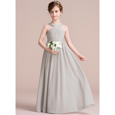A-Lijn/Prinses V-nek Vloer lengte De Chiffon Junior Bruidsmeisjes Jurk met Roes Strik(ken)