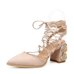 Femmes Suède Talon bottier Escarpins Bout fermé Escarpins avec Dentelle chaussures (085150579)