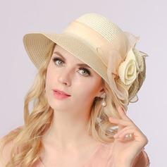 женские Элегантные Плетеная соломы с шелковые цветы Шапочка / громоздкая