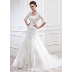 A-Line/Princess Strapless Chapel Train Tulle Wedding Dress With Beading Appliques Lace Bow(s)