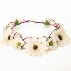 Lovely Algodão/Rattan de palha/Fita Capacete da menina flor/Flores & penas