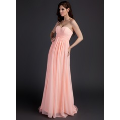 Empire Sweetheart Sweep Train Chiffon Maternity Bridesmaid Dress With Ruffle (045022489)
