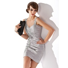 Jacka Hjärtformad Kort/Mini Charmeuse Cocktailklänning med Rufsar Pärlbrodering