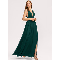 A-Line V-neck Floor-Length Chiffon Evening Dress (017232948)