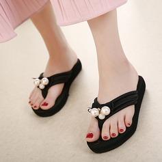 Kvinnor Duk Låg Klack Sandaler Flip Flops med Oäkta Pearl skor