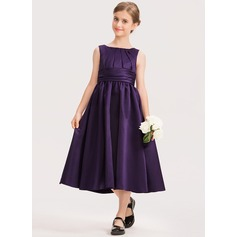 A-Line Scoop Neck Tea-Length Satin Junior Bridesmaid Dress With Ruffle
