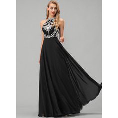 A-Line Scoop Neck Floor-Length Chiffon Prom Dresses With Lace (018220268)