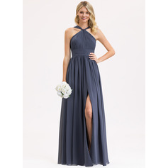 A-Line V-neck Floor-Length Chiffon Bridesmaid Dress With Ruffle Split Front