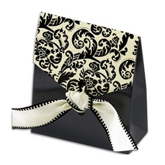 Classic Damask Favor Bags with Ivory & Black Ribbon (Set of 12)