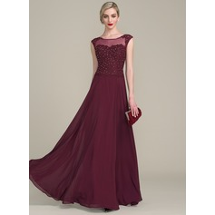 A-Line/Princess Scoop Neck Floor-Length Chiffon Lace Mother of the Bride Dress With Beading Sequins (008102672)