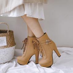 De mujer PU Tacón ancho Salón Plataforma Botas con Hebilla Cordones zapatos (088137505)