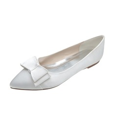 Women's Satin Flat Heel Closed Toe Flats With Bowknot