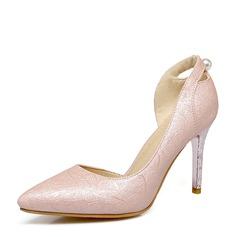 Donna Camoscio Tacco a spillo Stiletto Punta chiusa con Perla imitazione scarpe