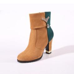 De mujer Ante Tacón ancho Plataforma Botas al tobillo con Rhinestone zapatos